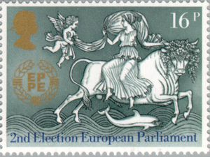 ▲유럽 의회 2기 의원 선출 기념 우표