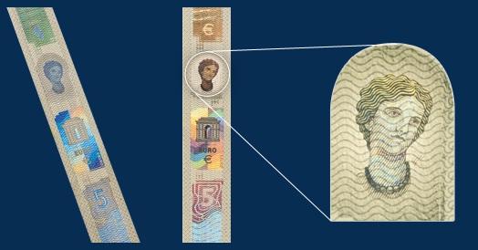 ▲유로화 지폐의 홀로그램에 새겨진 에로우파(Europa)