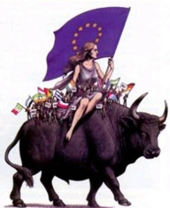 ▲짐승(황소)을 탄 여자 Europa의 모습은 유럽연합의 주요 행사가 열릴 때마다 상징으로 사용되고 있다.