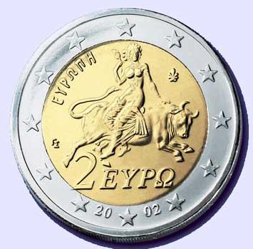 ▲짐승(황소)을 탄 여자 Europa의 모습이 새겨진 옛 그리스 화폐와 그리스 2유로 동전에 새겨진 Europa의 모습