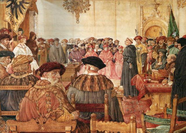 네덜란드의 화가 이싱스(J.H. Isinghs)가 그린 <1521년 신성로마제국 국회 석상의 루터>