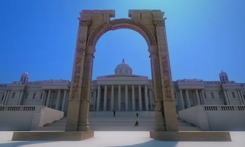 ▲런던 트라팔가 광장에 세워질 건축물, 바알 샤민 입구에 세워졌던 아치 구조물이다 ⓒdigitalarchaeology.org.uk/