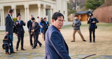 "△Shinchonji founder, Lee Man-hee gives a personal tour of the grounds at his group's mansion, which his followers call ""the peace palace,"" to The World's Matthew Bell. The location is in the hills outside of the South Korean capital, Seoul. Credit: Steve Smith"