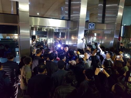 △지난 13일 신도림동 세계선교센터에서의 대치 상황